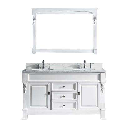 Huntshire 61 in. W Bath Vanity in White with Marble Vanity Top in White with Round Basin and Mirror