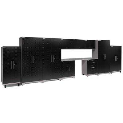 Performance Plus Diamond Plate 2.0 80 in. H x 248 in. W x 24 in. D Garage Cabinet Set in Black (11-Piece)