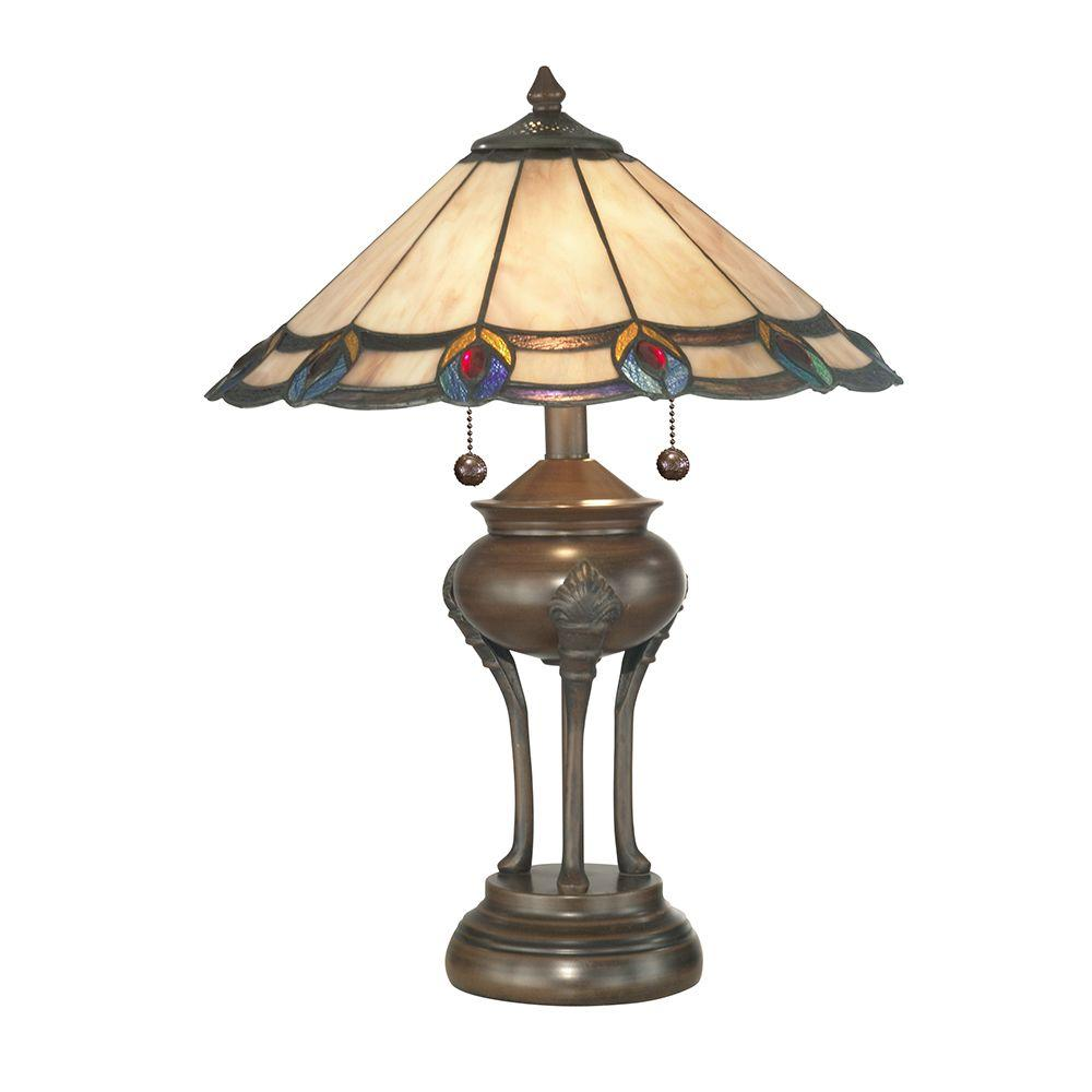 Dale Tiffany 21.5 in. Peacock Jewel Art Glass Table Lamp with Ball Base-DISCONTINUED