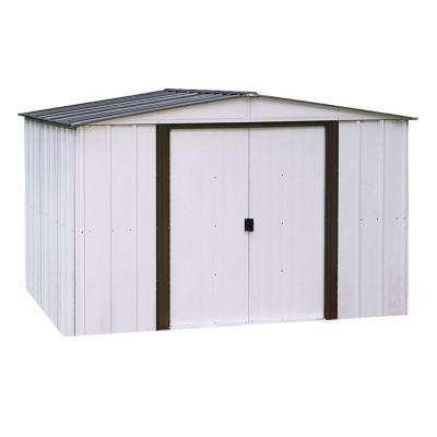 Newport 10 ft. W x 8 ft. D 2-Tone Eggshell and Coffee Galvanized Metal Shed with Galvanized Steel Floor Frame Kit