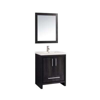 Miami 24 in. W x 19.5 in. D x 36 in. H Vanity in Black Walnut with Acrylic Vanity Top in White, White Basin and Mirror