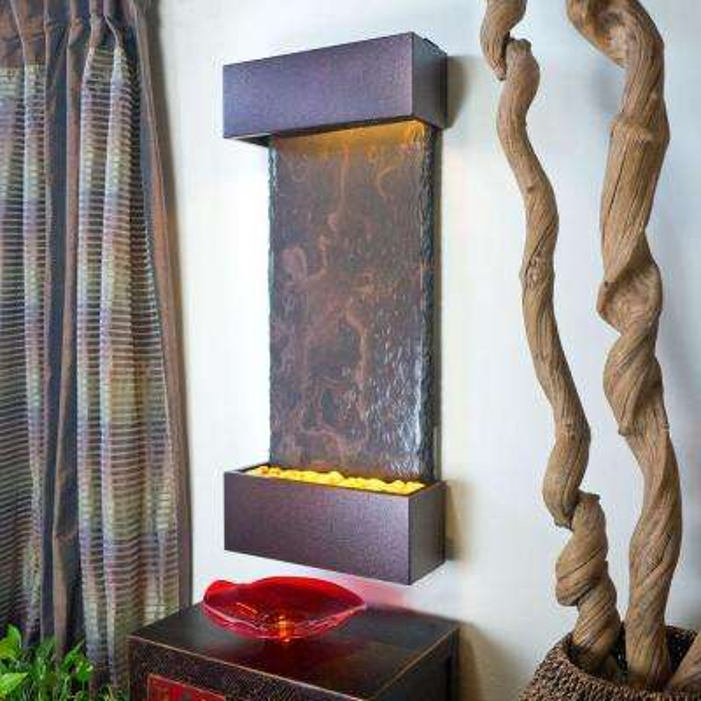 Medium Nojoqui Falls Lightweight Slate Wall Fountain in Copper-Vein Trim