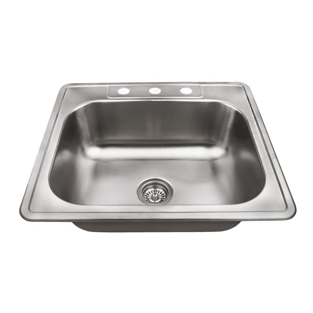 MR Direct Drop-in Stainless Steel 25 in. 3-Hole Single Bowl Kitchen Sink