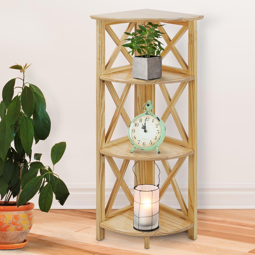 X-Design Natural 4-Shelf Corner Folding Bookcase