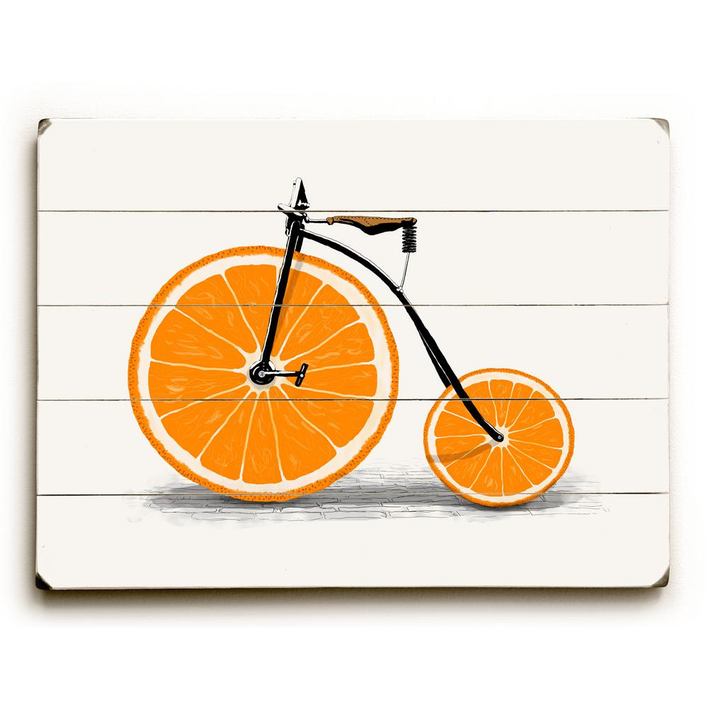 "14 in. x 20 in. ""Orange Zest"" by Florent Bodart ""Planked"