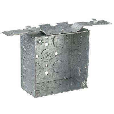 4 in. 2-1/8 in. Deep 30.3 cu. in. Steel Square Box Eccentric Knockouts and SV Bracket (Case of 25)