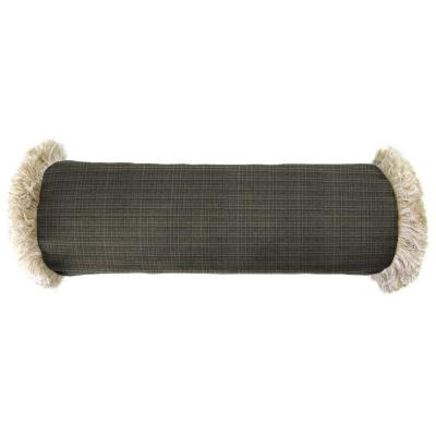 Sunbrella 7 in. x 20 in. Surge Charcoal Bolster Outdoor Pillow with Canvas Fringe