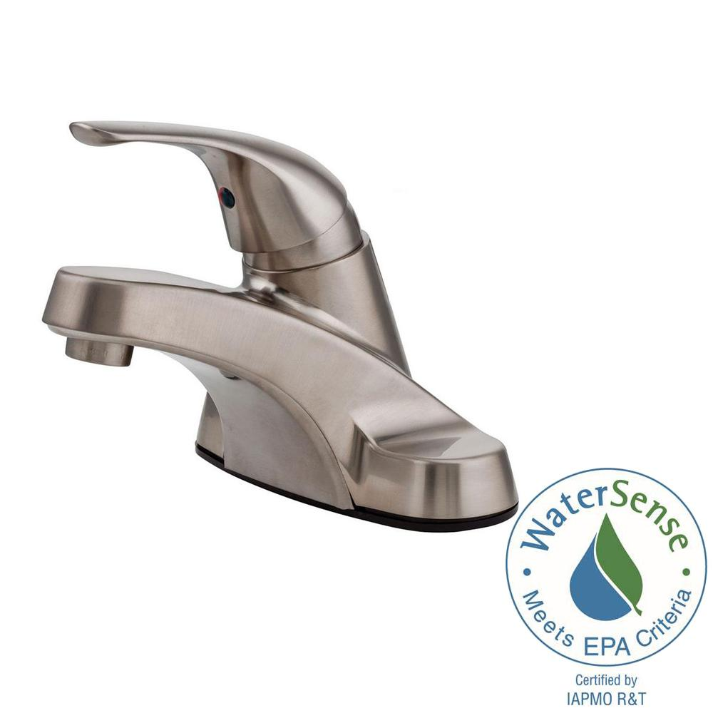 Pfister Pfirst Series 4 in. Centerset Single-Handle Job Pack Bathroom Faucet in Brushed Nickel