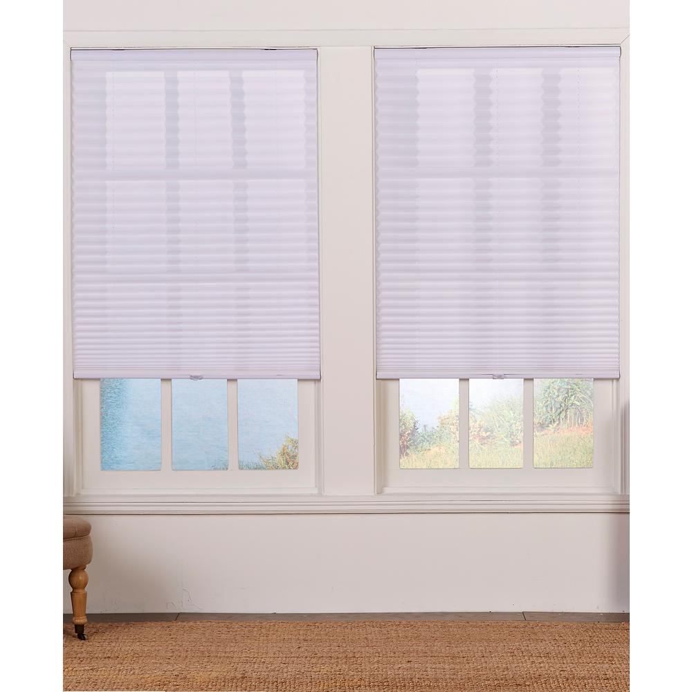 Perfect Lift Window Treatment Cut-to-Width White Cordless Light Filtering Pleated Shade - 20 in. W x 64 in. L