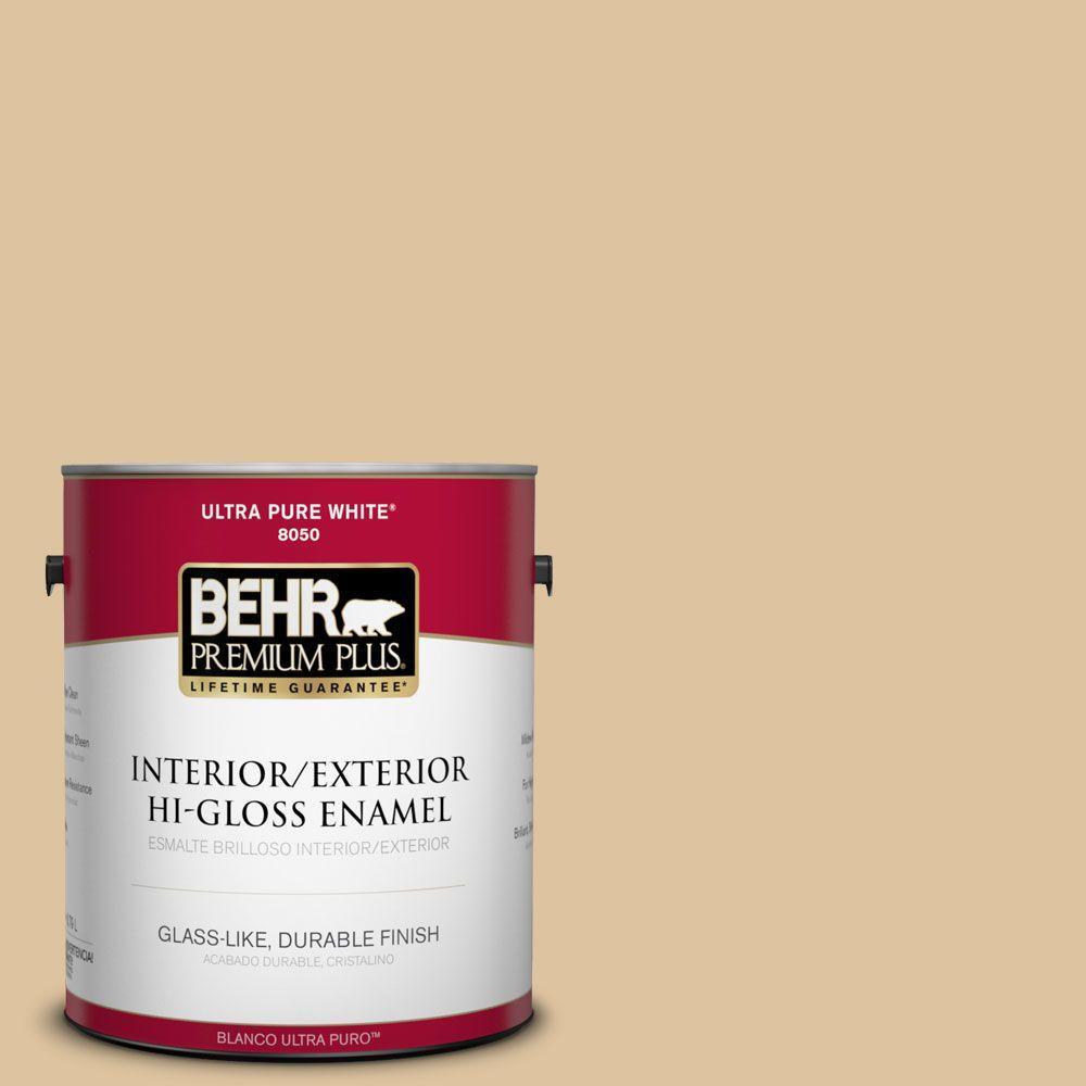 BEHR Premium Plus 1-gal. #S300-3 Almond Cookie Hi-Gloss Enamel Interior/Exterior Paint