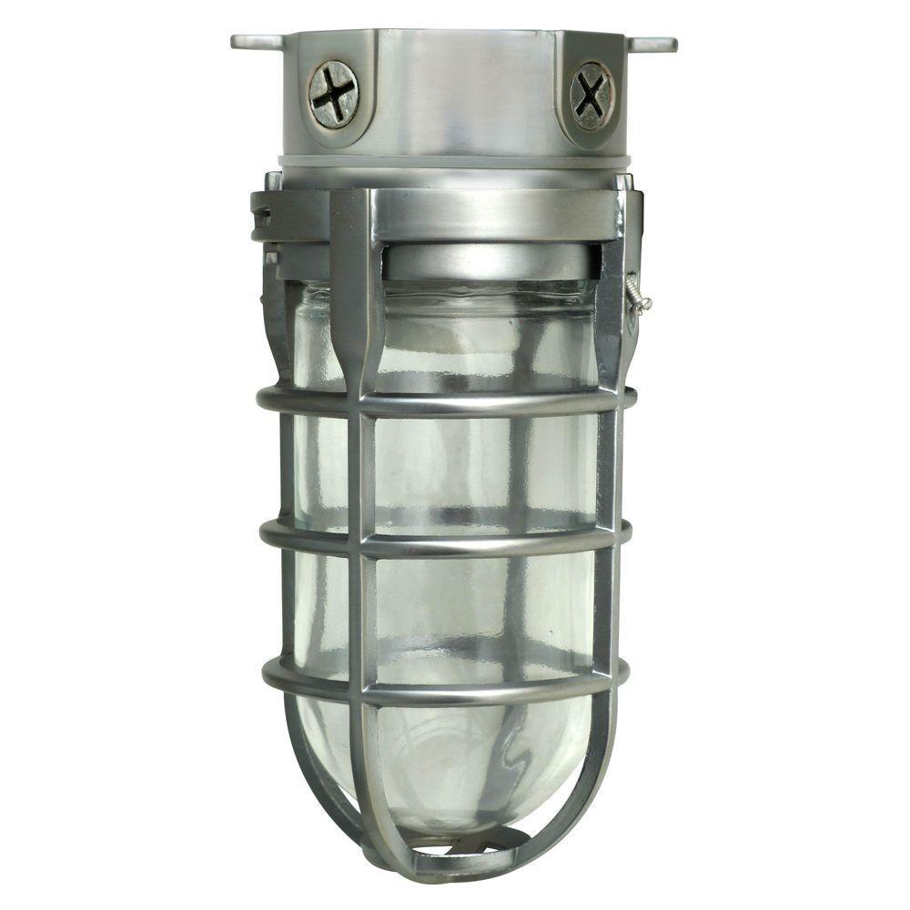 Industrial 1-Light Brushed Steel Outdoor Weather Tight Flushmount Light Fixture