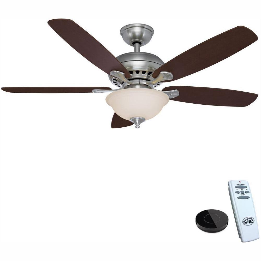 Hampton Bay Southwind 52 in. LED Brushed Nickel Ceiling Fan with Light Kit Works with Google Assistant and Alexa