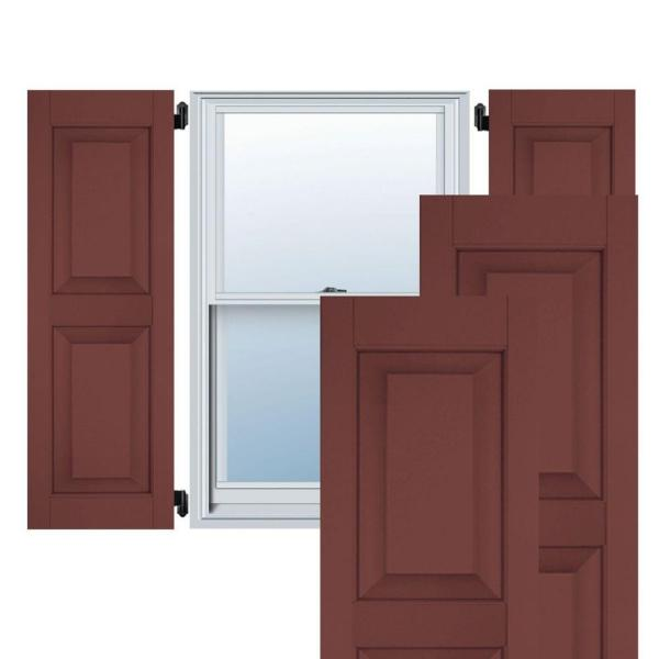Ekena Millwork 12 In X 30 In Exterior Real Wood Pine Raised Panel Shutters Pair Cottage Red Rwr12x030crp The Home Depot
