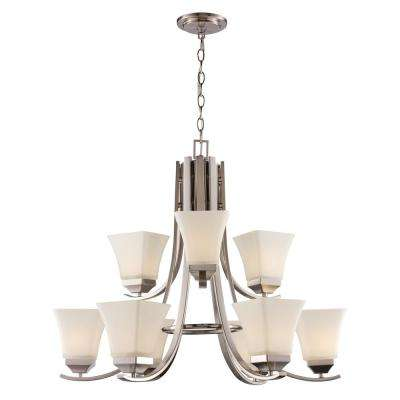 9 LT Brushed Nickel Chandelier with White Frost Bell Glass Shades