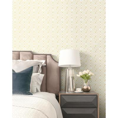 Gold Diamond Geometric Peel and Stick Wallpaper