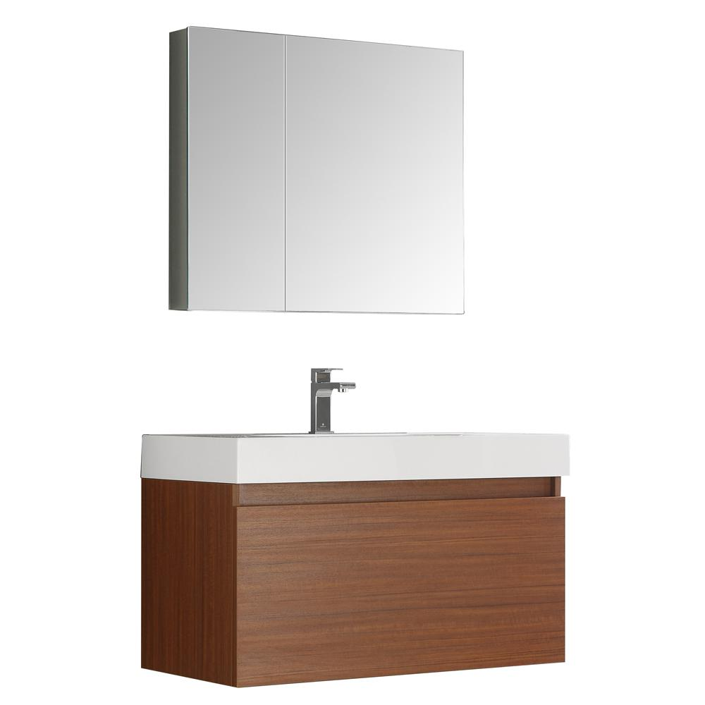 Fresca Mezzo 36 in. Vanity in Teak with Acrylic Vanity Top in White with White Basin and Mirrored Medicine Cabinet