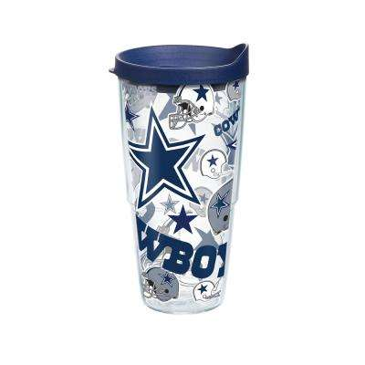 NFL Dallas Cowboys All Over 24 oz. Double Walled Insulated Tumbler with Travel Lid