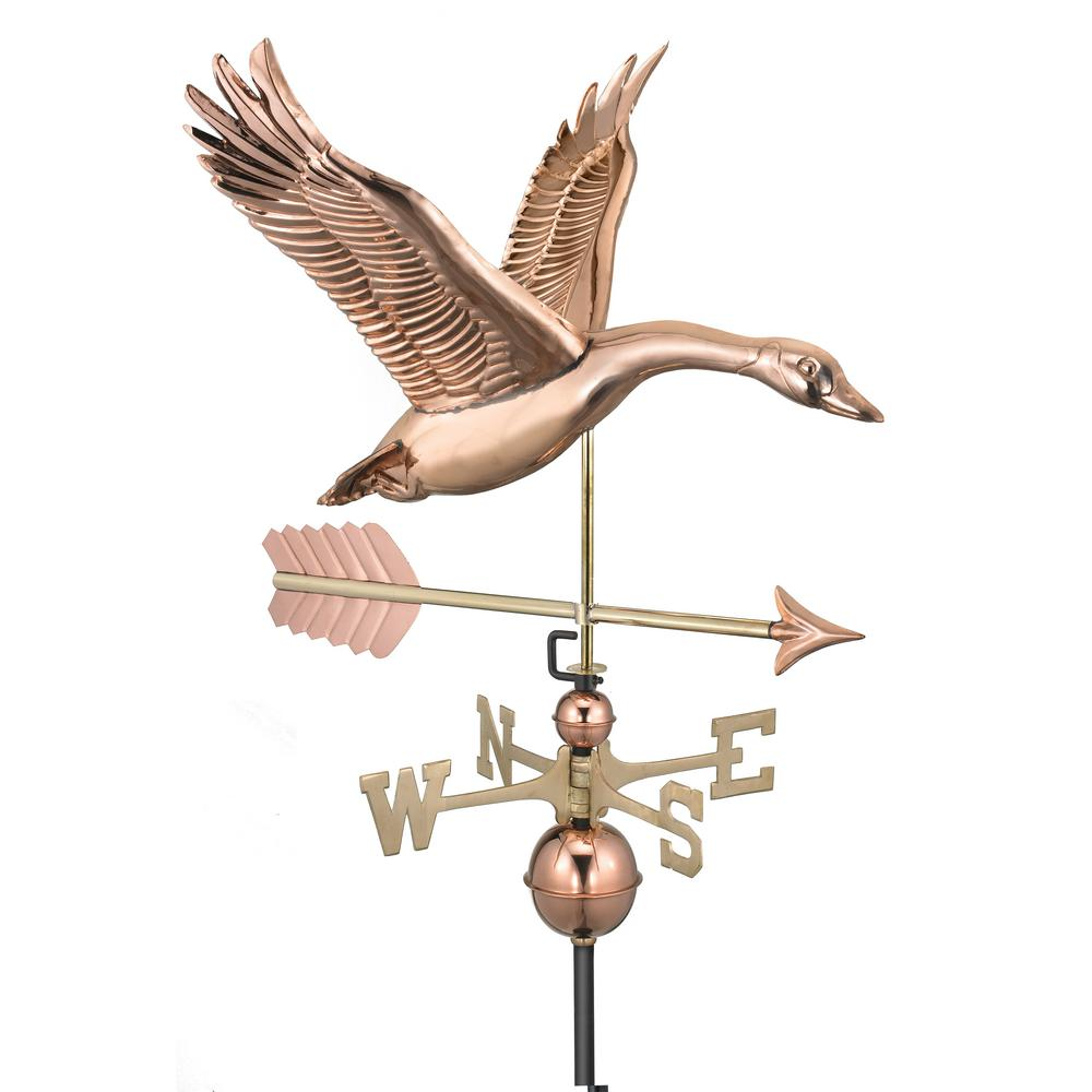 Garage Cooling Fans >> Good Directions Feathered Goose with Arrow Weathervane-Pure Copper-9663PA - The Home Depot