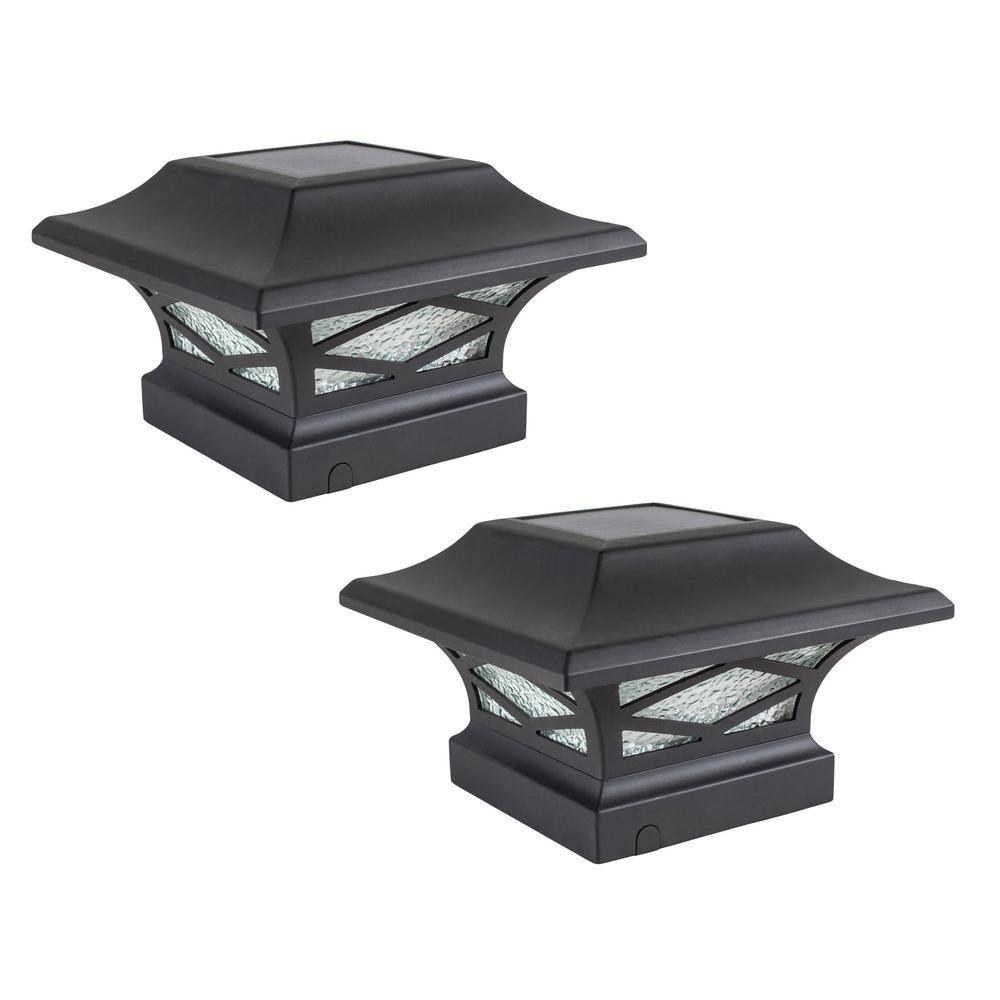 Kingsbridge Solar Black Dual Lighted Outdoor Integrated LED Post Cap (2-Pack)