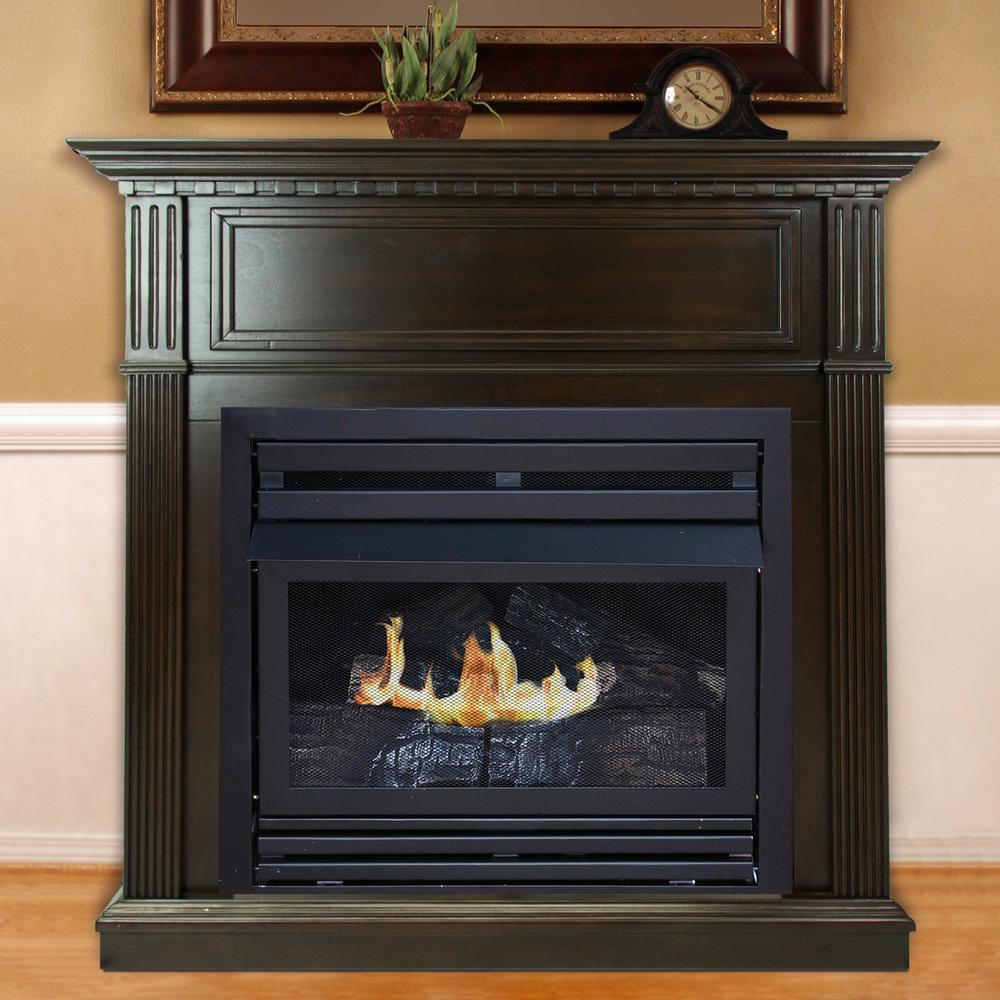 Surprising Pleasant Hearth 27 500 Btu 42 In Convertible Ventless Natural Gas Fireplace In Tobacco Home Interior And Landscaping Mentranervesignezvosmurscom