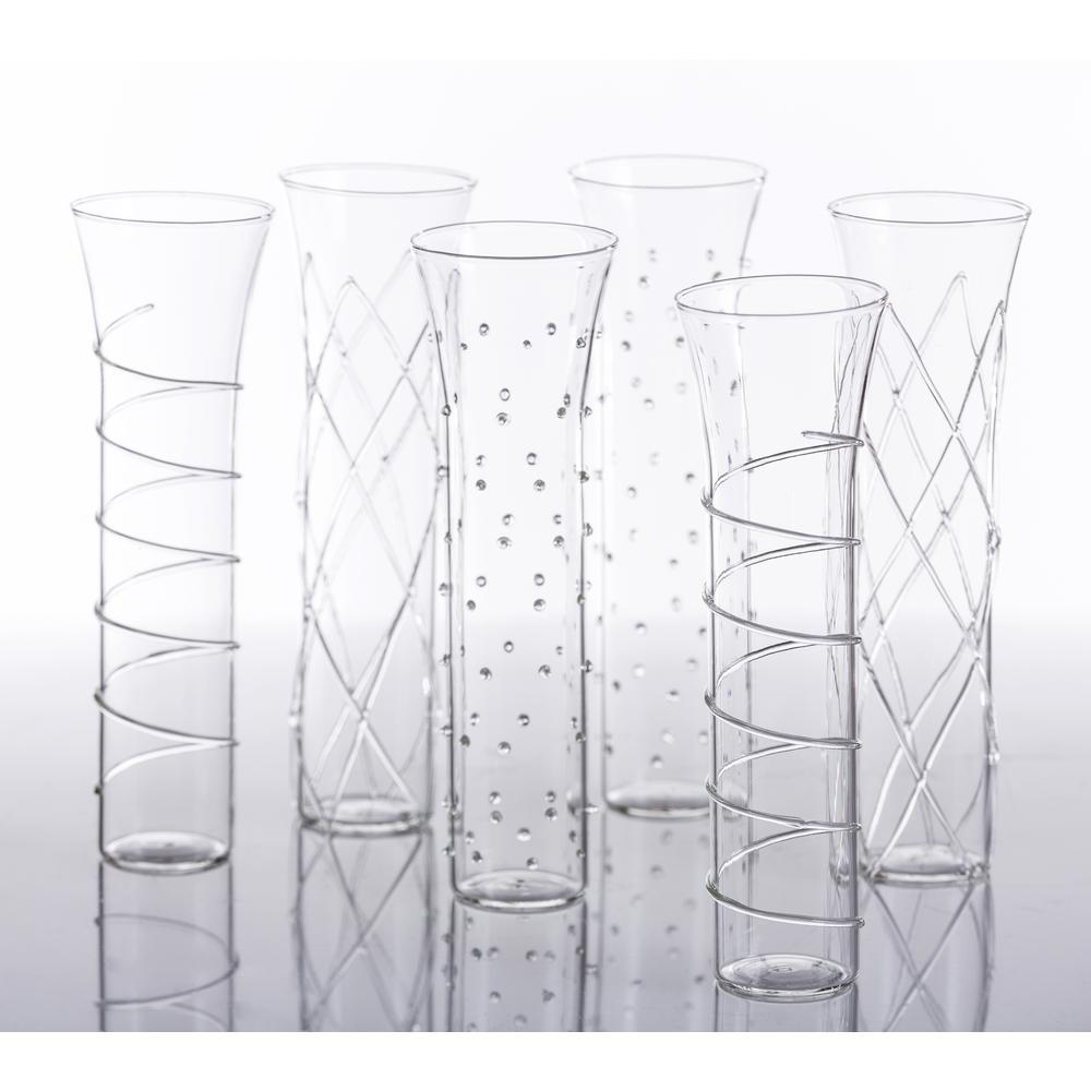 Razzle Dazzle Clear Champagne Glassses (Set of 6)