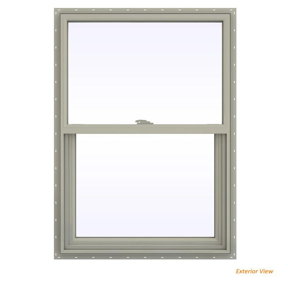 29.5 in. x 41.5 in. V-2500 Series Desert Sand Vinyl Single Hung Window with Fiberglass Mesh Screen