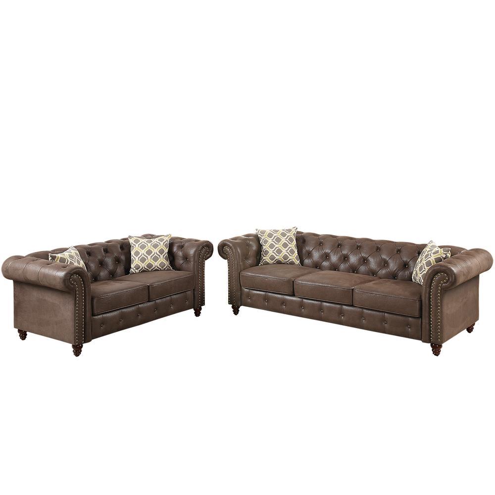 Vicenza 2-Piece Dark Coffee Leatherette Sofa Set
