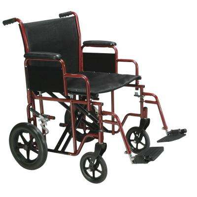 Bariatric Heavy Duty Transport Wheelchair with Swing-away Footrest, Red