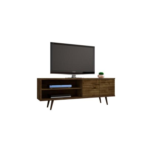 Liberty 63 in. Rustic Brown Composite TV Stand Fits TVs Up to 60 in. with Storage Doors
