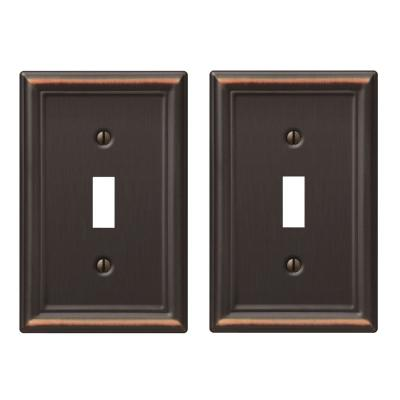 Ascher 1 Gang Toggle Steel Wall Plate - Aged Bronze (2-Pack)