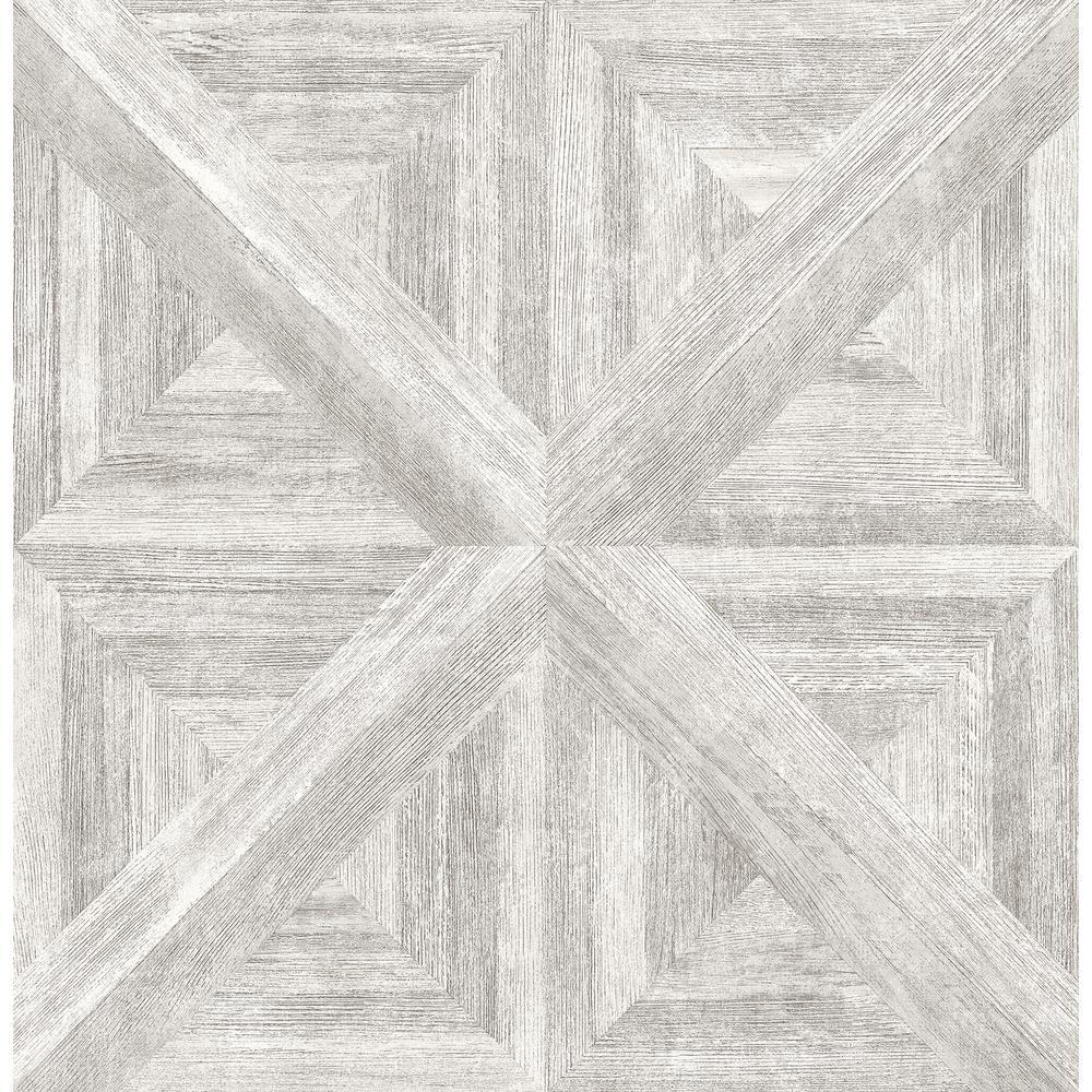 Angeline White Geometric Wood Wallpaper Sample