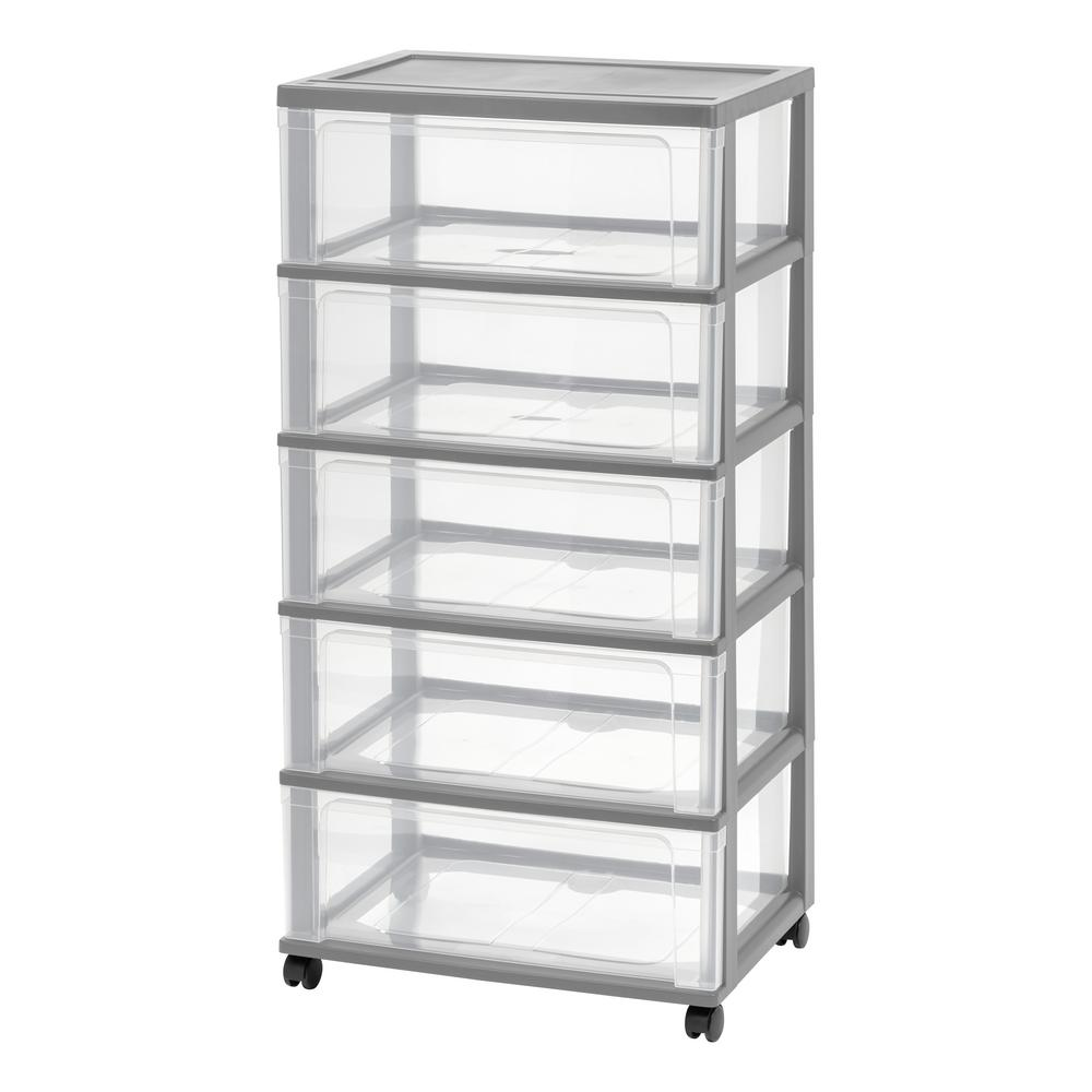 5 Drawer Plastic Wheeled Wide Chest In Gray