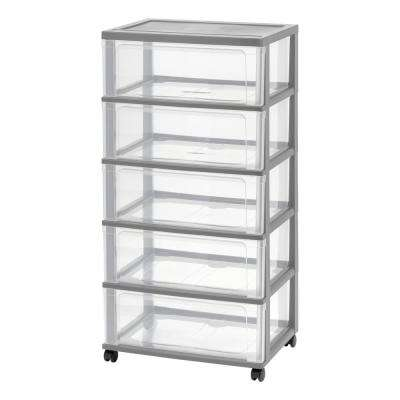5-Drawer Plastic Wheeled Wide Chest in Gray