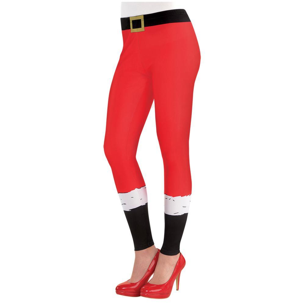 1edf28c60c6 Amscan Adult Santa Christmas Leggings-398947 - The Home Depot