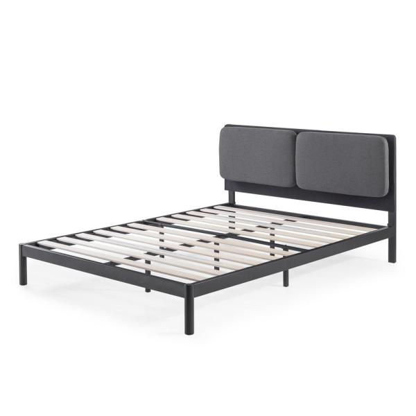 Avery Dark Grey Queen Platform Bed with Reclining Headboard