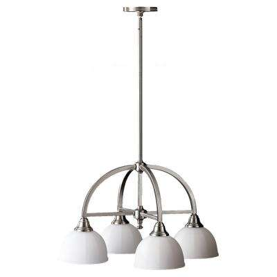 Perry 24.25 in. W 4-Light Brushed Steel Chandelier with White Opal Etched Glass