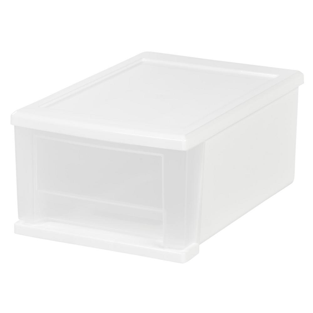 IRIS 7 Qt Stacking Storage Bin in White The Home
