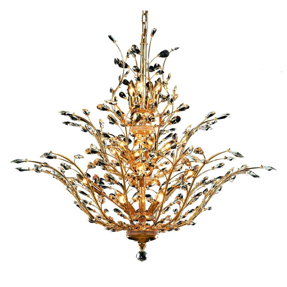 Elegant Lighting 18-Light Gold Chandelier with Clear Crystal