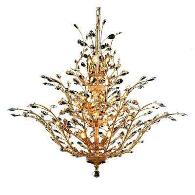 18-Light Gold Chandelier with Clear Crystal