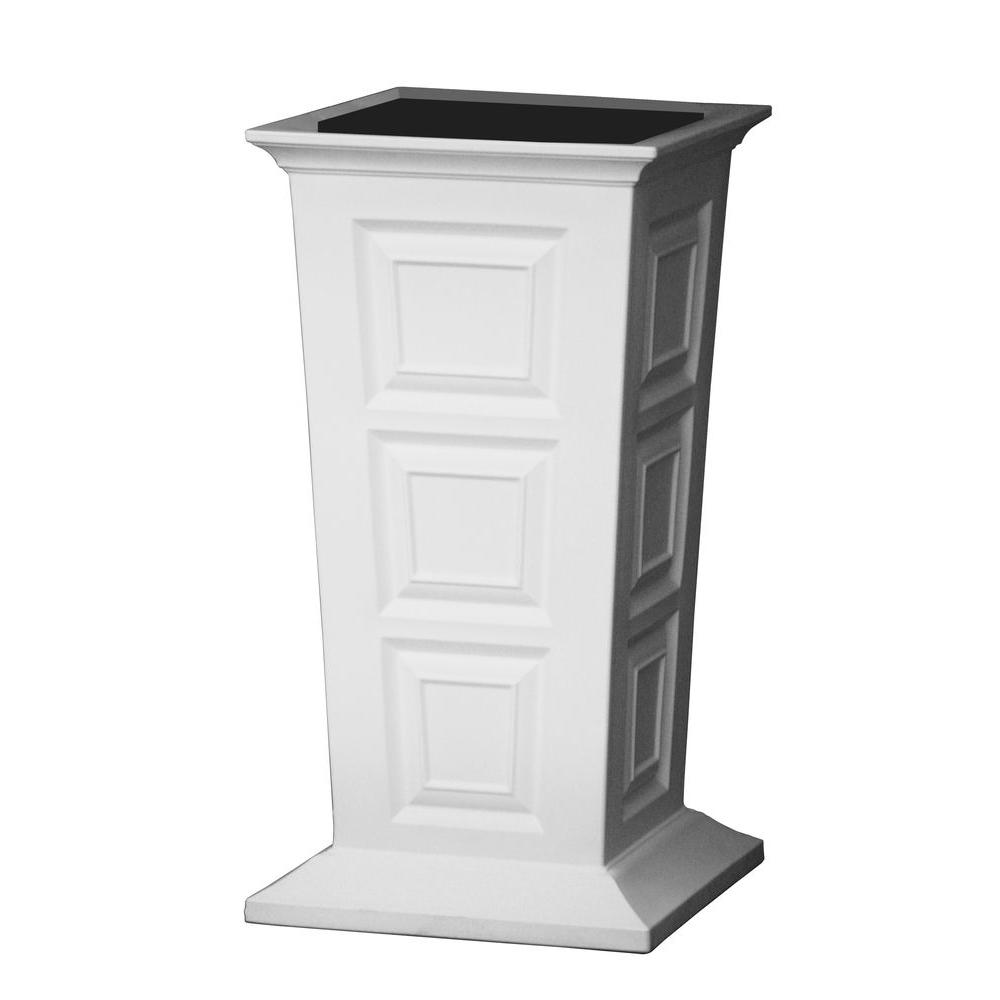 Savannah 16 in. Square White Poly-Resin Column Planter