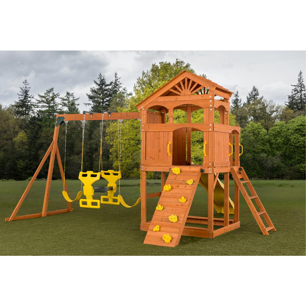 Creative Cedar Designs Timber Valley Swing Set with Yellow Accessories