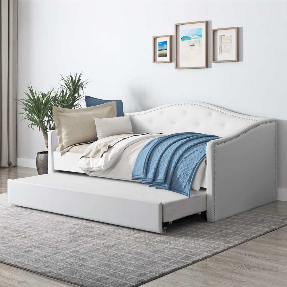 Fairfield White Tufted Leatherette Twin/Single Day Bed with Trundle