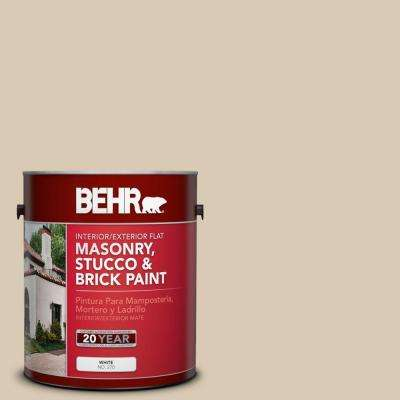 1-gal. #MS-41 Sandstone Beige Flat Interior/Exterior Masonry, Stucco and Brick Paint