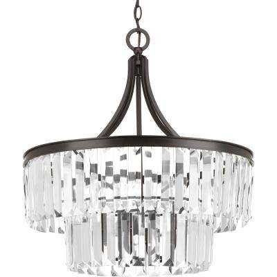 Glimmer Collection 5-Light Antique Bronze Pendant with Clear Glass