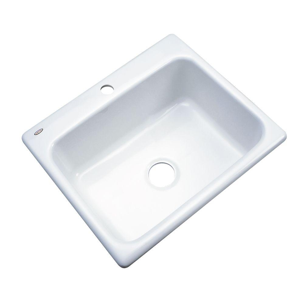Thermocast Inverness Drop-In Acrylic 25 in. 1-Hole Single Bowl Kitchen Sink in White