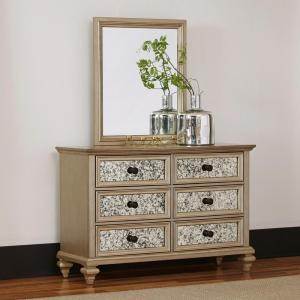 Home Styles Visions 6 Drawer Silver Gold Champagne Finish Dresser With Mirror