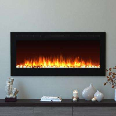 Cynergy 50 in. Pebble Electric Recessed Built-In Fireplace in Black