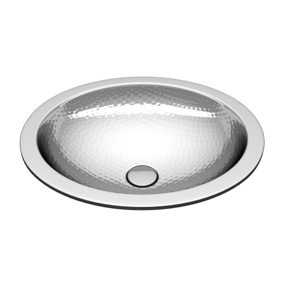 Boreal 19 in. Handmade Undermount Oval Bathroom Sink in Hammered Nickel