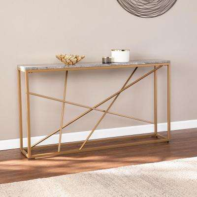 Salla Gold with Gray Faux Marble Skinny Console Table