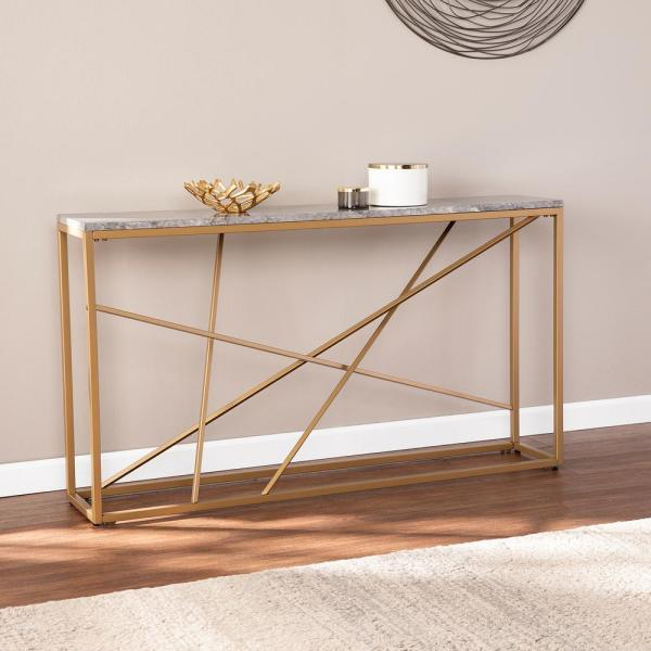 Southern Enterprises Rippert 48 In Champagne White Rectangle Stone Console Table With Storage Hd530338 The Home Depot